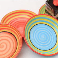Wholesale Dia quot Popular Hand Painted Rainbow Porcelain Plates Cute Pickles Dishes Household Supplies SH130