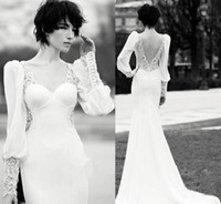 ancient trumpets - Graceful Mermaid Sweetheart Nechline Ancient Palace Long Sleeve Chiffon Wedding Dresses Sexy Back V Neck Backless Evening Dresses