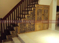 chinese furniture antique - New chinese style solid wood stair screen cutout old elm ming and qing antique furniture entranceway partition cabinet new