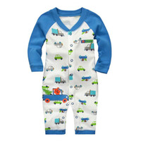 truck caps - Boy Rompers Truck Little Bear White And Blue Color Long Sleeve Cartoon Jumpsuits With Caps Kids Clothes Infant Bodysuits