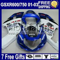 Precio de Suzuki gsxr750 fairing-7gifts+Chimenea R750-R600For SUZUKI K1 NUEVO Azul, blanco GSXR750 01 02 03 GSXR600 GSX R600 MF2A15 GSXR 600 750 MOTUL 2001 2002 2003 caliente Carenado