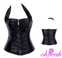 Wholesale Brand New Black Faux Leather Neck Line Zip Front Bustier Lingeries Leather Corsets Tops A9189