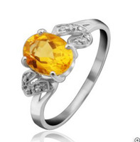 Asian & East Indian Women's Gift fashion jewelry 925 sterling silver natural citrine ring wedding gift SR0081C