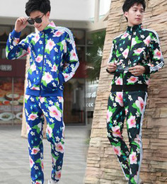 Wholesale 2013 Vingate Flowers Printed Women Men s Sport Suits Adult Floral Tracksuit Black Blue Unisex Clothes Wears B1948