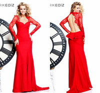 Long Sleeve amazing dance - Charming Amazing Red Lace Applique Long Sleeve Sheath Tarik Ediz Formal Evening Dresses Backless Sexy Party Prom Dress Gowns Dance Skirt