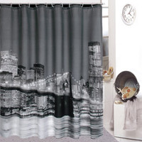Wholesale 180cmx180cm High Quality City Night View Bathing Waterproof Bathroom Fabric Shower Curtain