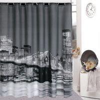 shower curtain - 180cmx180cm High Quality City Night View Bathing Waterproof Bathroom Fabric Shower Curtain
