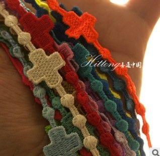 Womens Mens Lace Cruciani Bracelet Big Cross Charm ...
