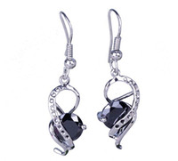 Black Bohemian Women's SF202*1 pair Beautiful Twine Inlay Black Eardrop 925 Sterling Silver Elegant Fashion Crystal Dangle Earrings Jewelry DIY
