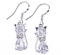 Cheap SF212*1 pair Lucid Cat Eardrop 925 Sterling Silver Elegant Fashion Crystal Dangle Earrings Jewelry DIY
