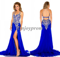 Wholesale Gorgeous Exquisite Halter Blue Chiffon Shining Appliques Sequins Side Slit Sexy Backless A line Prom Evening Pageant Dresses