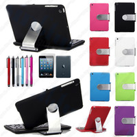 Wholesale A2 Degree Rotary Stand Case Cover Bluetooth Wireless Keyboard Stylus screen protector for New iPad Mini