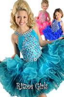 2T-3T Girl Easter Halter crew neck diamond floral ruffles formal mini short skirt infant little kids ball gowns pageant dresses ritzze flower girls cupcakes