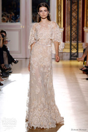 Wholesale 2013 Sexy Zuhair Murad Evening Dresses Jewel with Long Half Sleeve Lace Evening Party Gown
