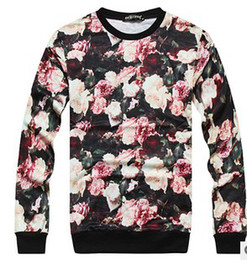 Wholesale 2013 Latest Flowers Printed Round Neck Men s Hiphop Shirts Man Hoodies Aduls Floral Oil Painting Sweetshirts B1949