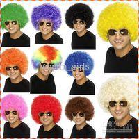 Wholesale HOT Halloween wig football fans wig Rainbow wig clown wig