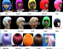 Wholesale Christmas Halloween dress Wonderful Short Straight Cosplay Party Fancy Dress Fake Hair Wig Wigs