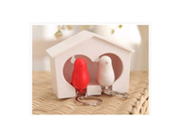 Wholesale Good quality lovely bird house keychain holder bird whistle key ring sparrow key ring colors