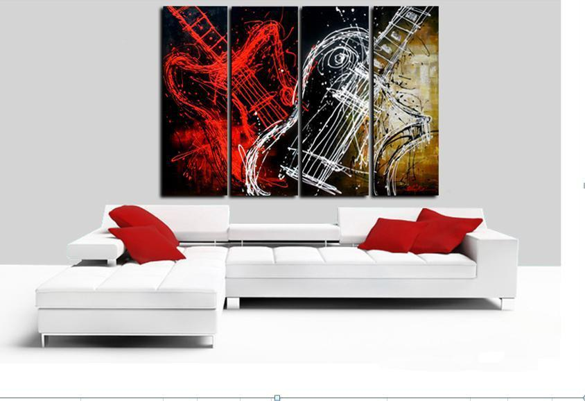 Handpainted Black White Red Abstract Oil Painting On Canvas Wall Art Musical Instruments Guitar Picture For