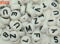 Wholesale BSC9 Chic New g Acrylic Loose Beads White Oblateness With Black English Alphabet Charm Beads Interesting DIY For Bracelet Craft Making