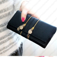 Wholesale A2 New Dual Zipper Chain Two Fold Long Purse Lady Leather Wallet Women Wallet