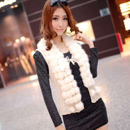 Wholesale Women Autumn knitted waist real shot real rabbit fur ball lazy collar cardigan vest vest