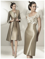 Model Pictures flower appliques - 2015 New Style Mother Of The Bride Groom Dresses V Neck Handmade Flowers Applique Lace Sheath Satin Custom Evening Gowns With Long Jacket