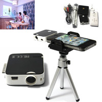 Wholesale Portable Multimedia LED Projector Handheld Pocket Cinema Mobile Pico Projector with Tripod for iPhone ipad Compatible