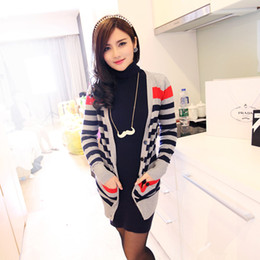Wholesale 2013 wool sweaters new fall and winter clothes large size women s striped cardigan sweater long pocket