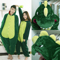 Wholesale New Hot Sale Lovely Cheap Kigurumi Pajamas Anime Cosplay Costume Unisex Adult Onesie Green Dinosaur Dress Sleepwear Halloween S M L XL