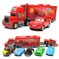 Wholesale 1set Pixar Car Alloy amp Plastic Mack Samll Red Car Toy Mater Sheriff Cars Sally Chick Hicks quot Mack quot truck Toy Car