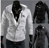 Wholesale Autumn Men Zipper Black Grey Colors Long Sleeve Casual Outwears Men s Coats Sweat Shirts Solid Plain Warm Wears B1952