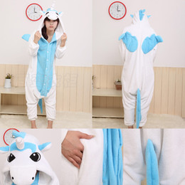 Wholesale New Hot Sale Lovely Cheap Kigurumi Pajamas Anime Blue Unicorn Cosplay Costume Unisex Adult Onesie Dress Sleepwear Halloween S M L XL