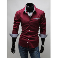 Wholesale 2016 Designer Dress Shirts Fashion Luxury Men Dress Shirt Long Sleeve Slim Cardigan turn down collar POLO Shirts tshirts Men Clothing M14