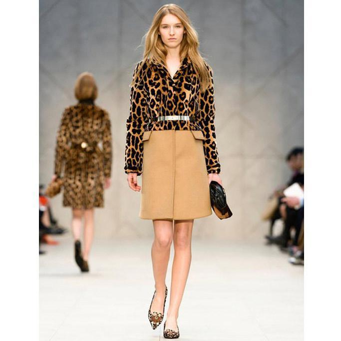 Runway Fashion Classic Check Lined Leopard Print Knee Length Wool Winter Long Coat Women Designer Dress Coats Womens Outerwear From Awedj156