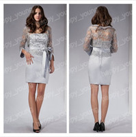 Wholesale Fashion Elegant Lace With Sleeves Ribbon Strapless Knee Length Sliver Mother of The Bride Dress get a pic free bracelet