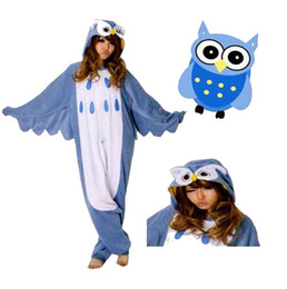 Wholesale New Hot Sale Lovely Cheap Blue Owl Kigurumi Pajamas Anime Pyjamas Cosplay Costume Unisex Adult Onesie Dress Sleepwear Halloween S M L XL