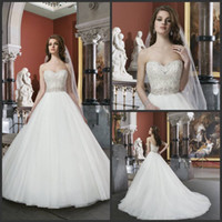 Wholesale Modest Elegant White Ivory Beaded Bodice Sweetheart Wedding Dresses With Belt Chapel Train Plus Size Bridal Gowns For Bride Just19