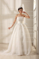 Wholesale Glamorous Strapless Lace Wedding Dresses Organza Bridal Gown Wedding Gowns Court Train Ruffles Custom Made Real Picture