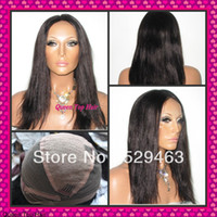 black cap - Natrual straight Brazilian virgin human hair full lace wig glueless wig cap with stretch double knots