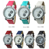 Wholesale New Arrive Mint Green Fashion Womage watches Shiny diamond Digatal design watch PU watch Band watches colors choice