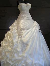 Fotos verdaderas 2015 Gorgeous una línea de novia sin tirantes de las colmenas de cristal vestidos de novia vestido de novia hermosa impresionantes vestidos de novia
