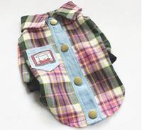 Shirts Spring/Summer  Plaid Pet Dog Cat Polo T Shirt Coat Summer Clothes Size XS S M L XL XXL Color Purple Green Yellow