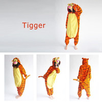 Anime Costumes adult tigger pyjamas - Hot Sale Lovely Cheap Orange Tigger Kigurumi Pajamas Anime Pyjamas Cosplay Costume Adult Unisex Onesie Dress Sleepwear Halloween S M L XL