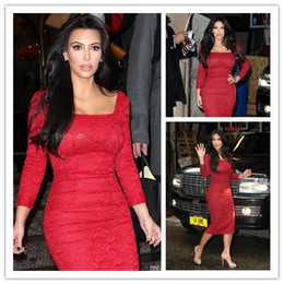 Wholesale Kim Kardashian Vintage Stunning Square Sheath Long Sleeves Red Lace Tea Length Cocktail Dresses Party Gowns Short Celebrity Dress