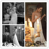 Wholesale Inbal Dror Paris Collection BR Sexy Spaghetti Tulle Ruched Appliques Backless Bridal Gown Wedding Dresses
