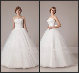 Wholesale 2014 stylish strapless bridal gowns beaded dress bow knot appliqued lace crystal wedding dresses