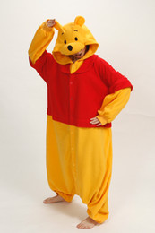 Wholesale Hot Sale Lovely Cheap Winnie the Pooh Kigurumi Pajamas Anime Pyjamas Cosplay Costume Adult Unisex Onesie Dress Sleepwear Halloween S M L XL