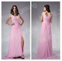Sexy big red pics - Big Discount Off V neckline Pleates Beaed Pink Side Silt Chiffon Prom Evening Dresses get a pic free bracelet