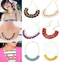 Wholesale 8pcs New Fashion Bib Collar Choker Statement Necklace Fluorescent Colors Chunky Golden Chain color JN07014